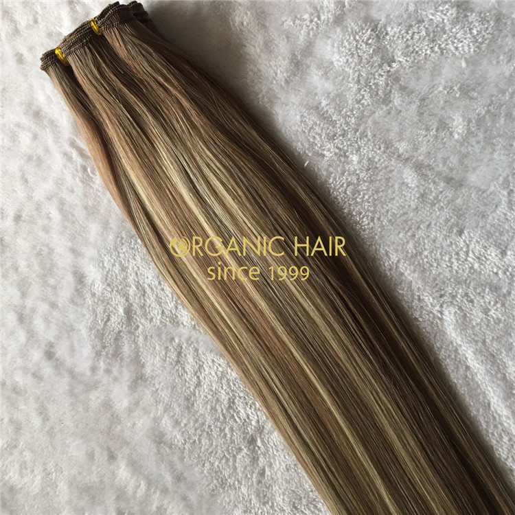 Human full cuticle customized hand tied wefts hair extensions X167