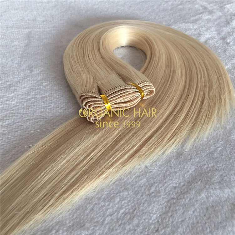 Hand tied weft human hair extensions blonde color  X137