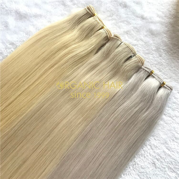 Ash blonde human full cuticle hand tied wefts X219