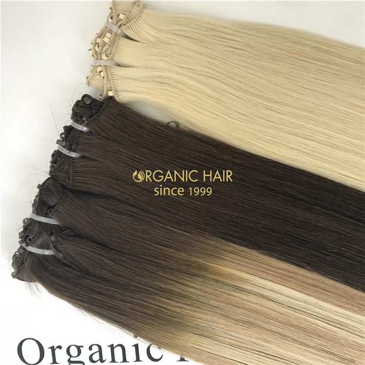 Human hand tied wefts hair extensions ombre color on sale X151