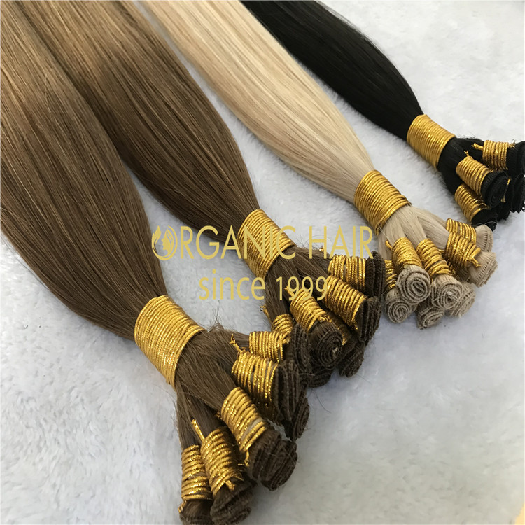 Top quality full cuticle human hand tied hair extensions H154