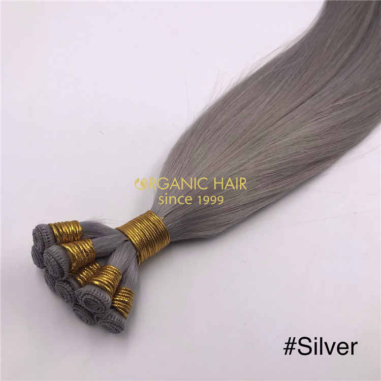 Wholesale Human hand tied wefts Silver color and hot sale  X332