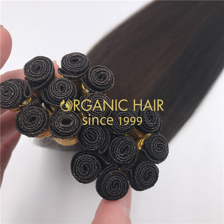 Wholesale human full cuticle hand tied wefts 1B and 2 color X325