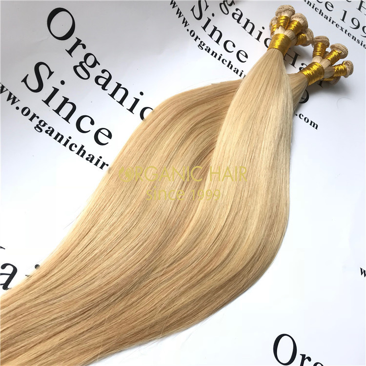Comfortable remy human hand tied weft hair extensions wholesale V87