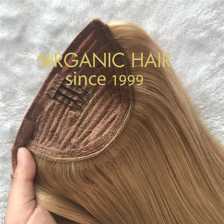 Full cuticle double drawn custom color ponytail hair extensions CC123
