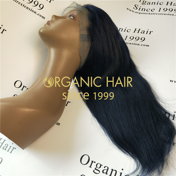22 inch Dark blue full lace wigs straight natural hair at wholesale factory price in China A50