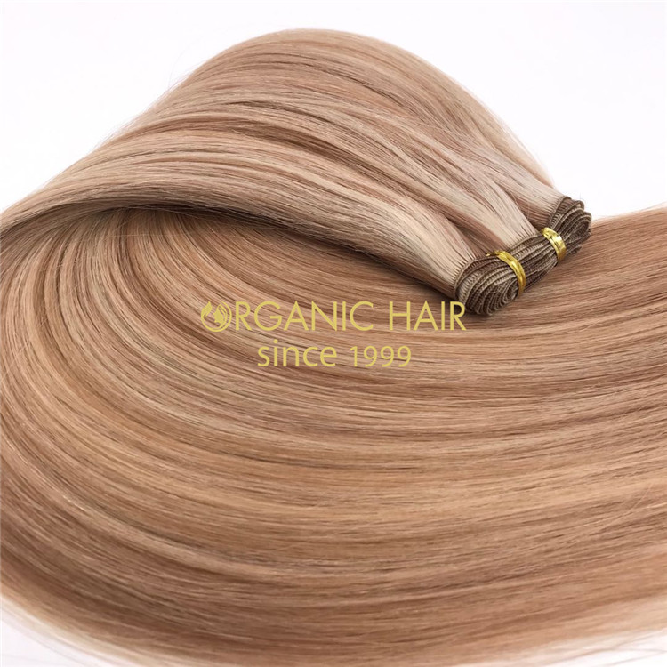 Cuticle intact hand tied wefts customized piano color #14/613 X242
