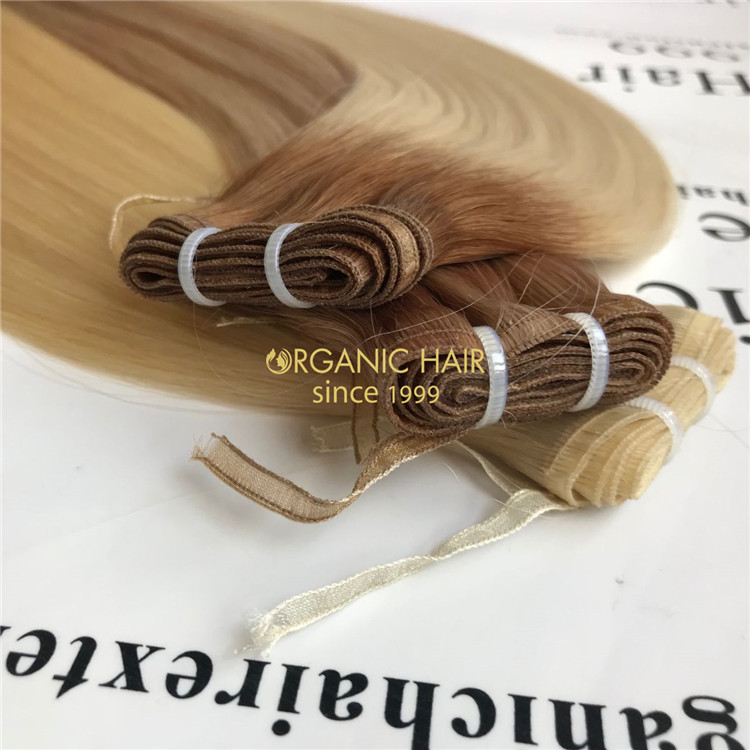 Best human flat weft hair extensions highlight color & ombre color X122