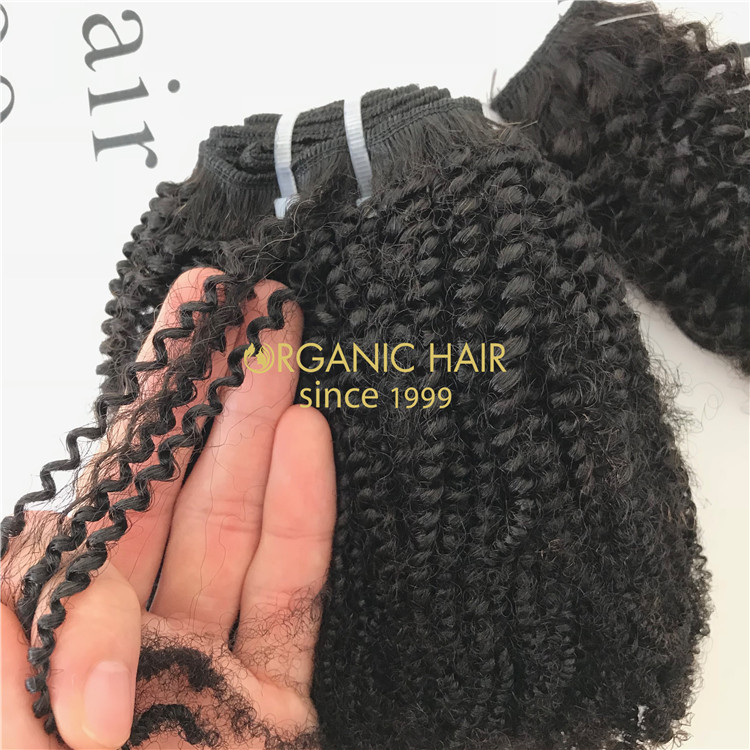 Cheap human virgin indian hair extension weave Coily texture X75