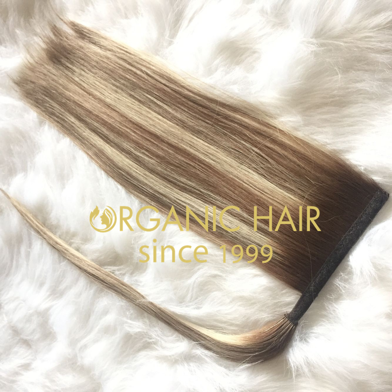 Full cuticle human hair ponytail extensions color8-8/613  C88