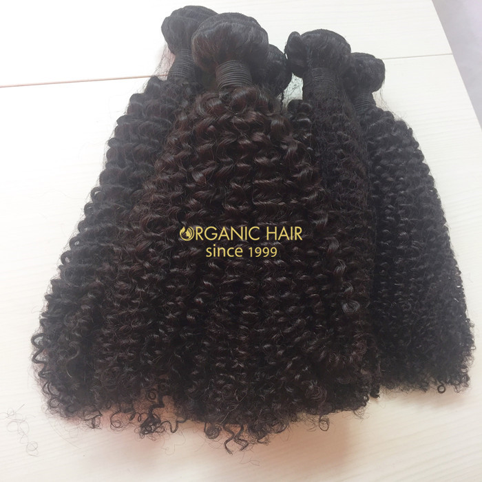 Factory price kinky curly remy human hair weave
