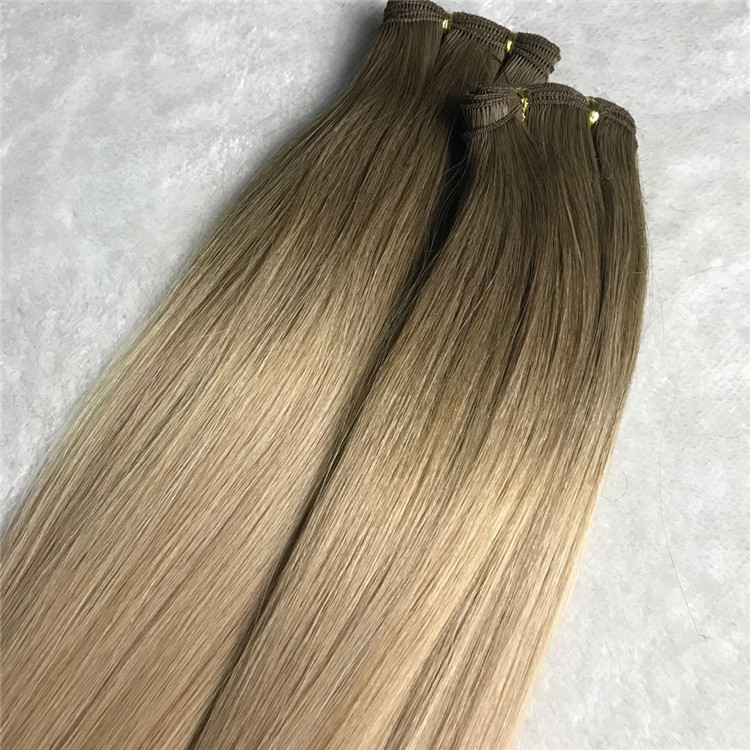 Human customized double drawn hand tied wefts X 221
