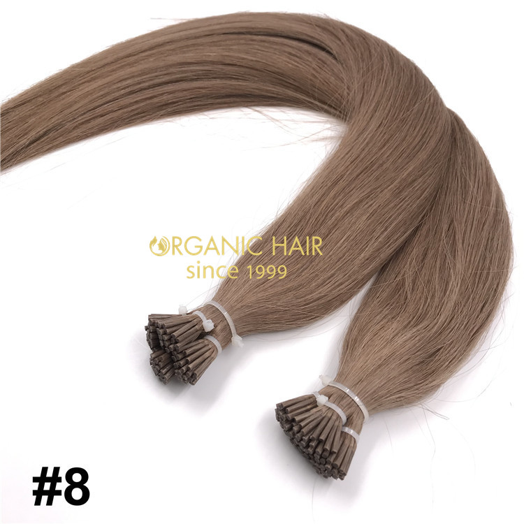 Popular color #8 human keratin itip hair extensions X236