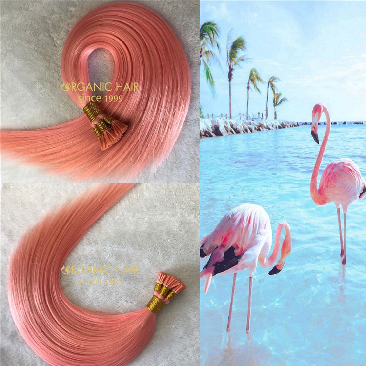 Customized human itip hair extensions Flamingo color X196