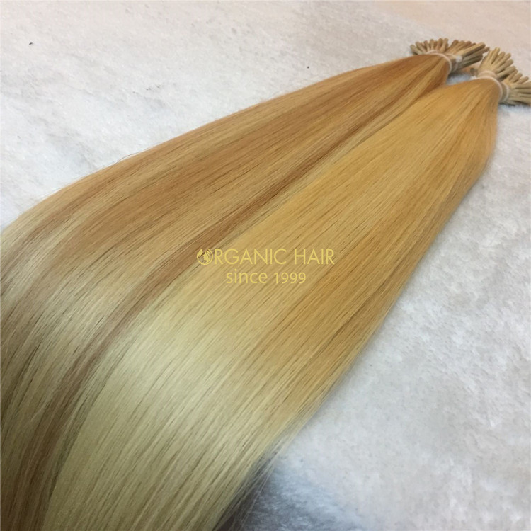Double drawn human keratin itip hair extensions X133