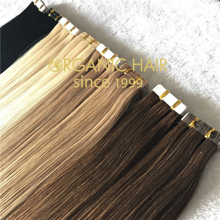 Tape in hair extensions with full cuticle intact  C111