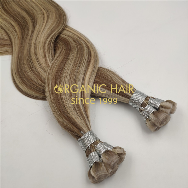 Wholesale human full cuticle Pu skin wefts hair extensions X334