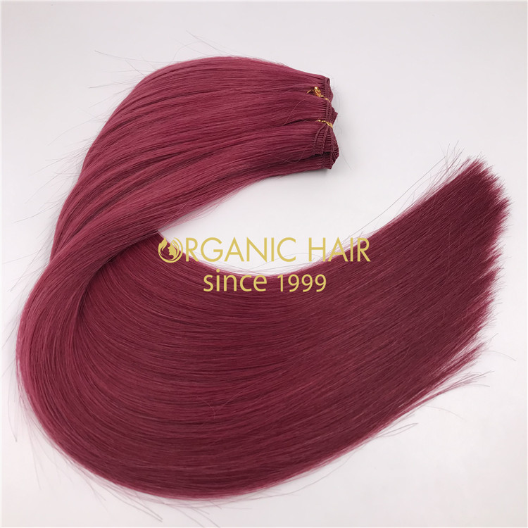 18inch Full cuticle remy hand tied weft wholesale 2021 Burg color X366