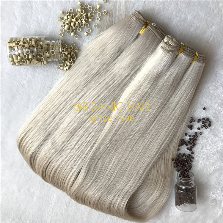Human wholesale ash blonde hand tied wefts and beads X286