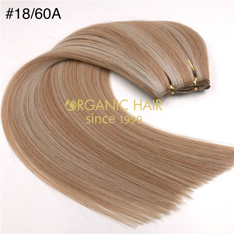 Wholesale human full cuticle hand tied wefts #18/60A good reviews X355