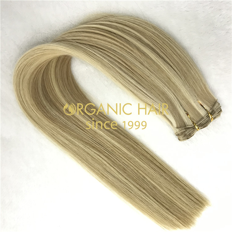 Wholesale human full cuticle remy hand tied wefts 18/60 piano color X367