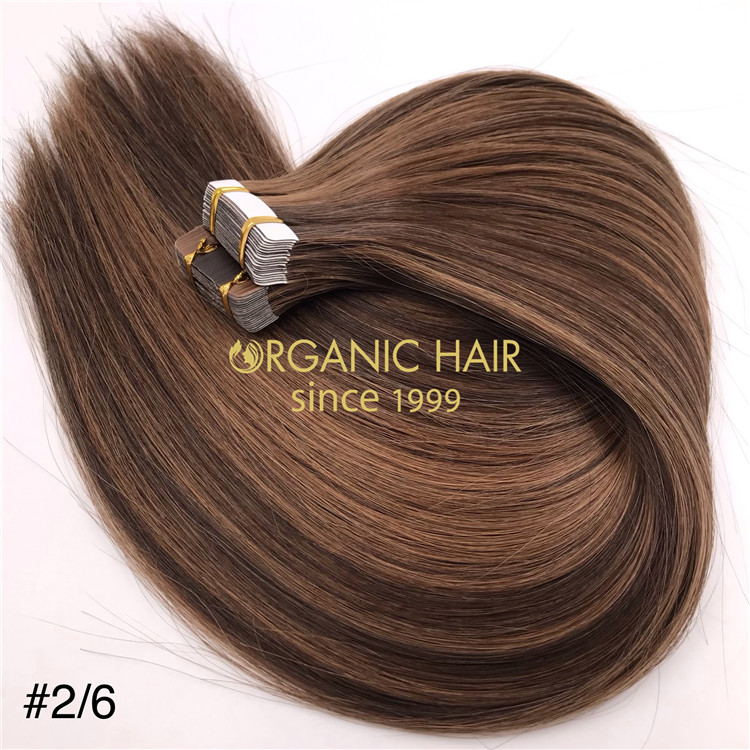 Wholesale piano color #2/6 human tape in hair extensions X348