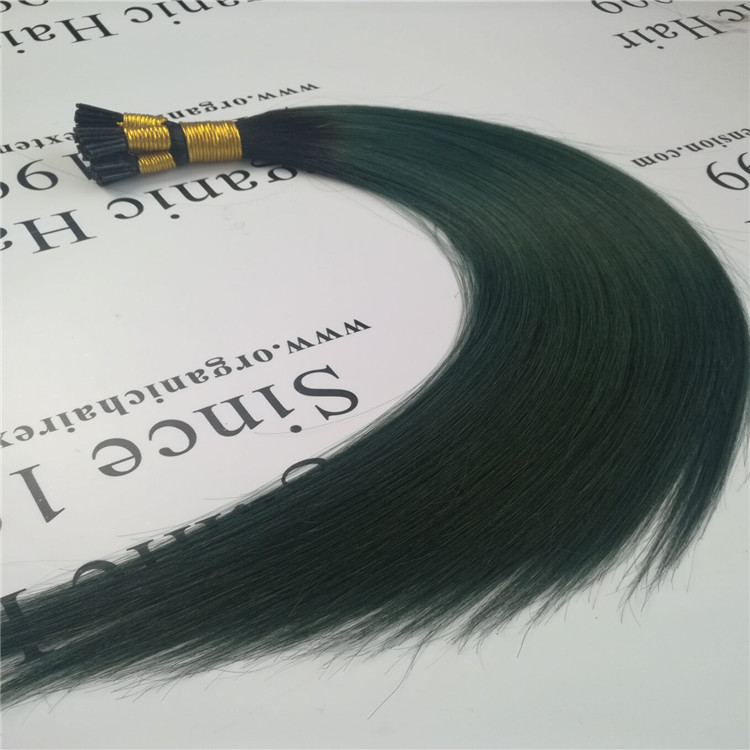The peacock green color i tip hair extension H28