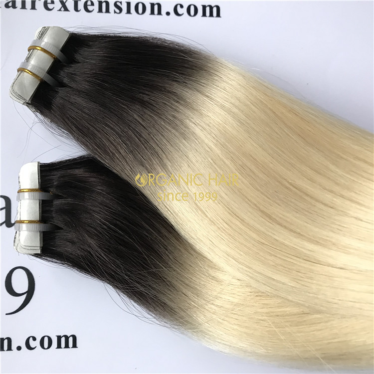Human remy hair pu skin weft extension ombre color X57