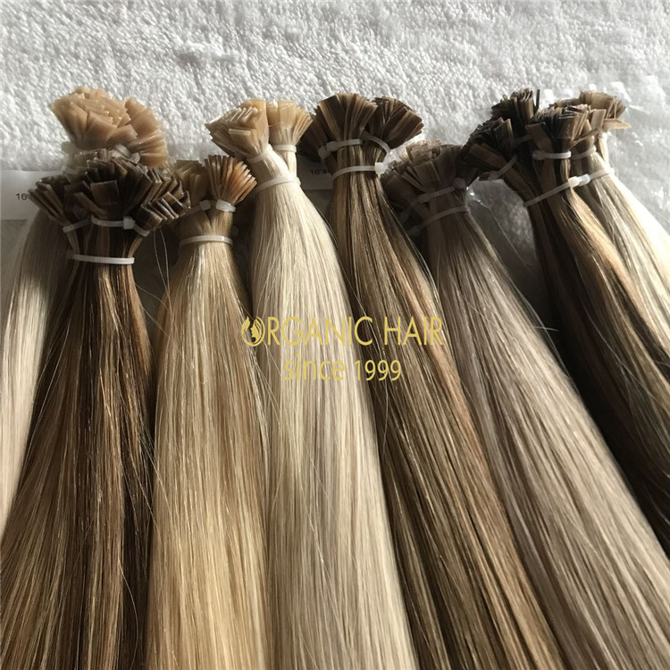 Customized best quality flat tip hair extensions according to client color ring A183
