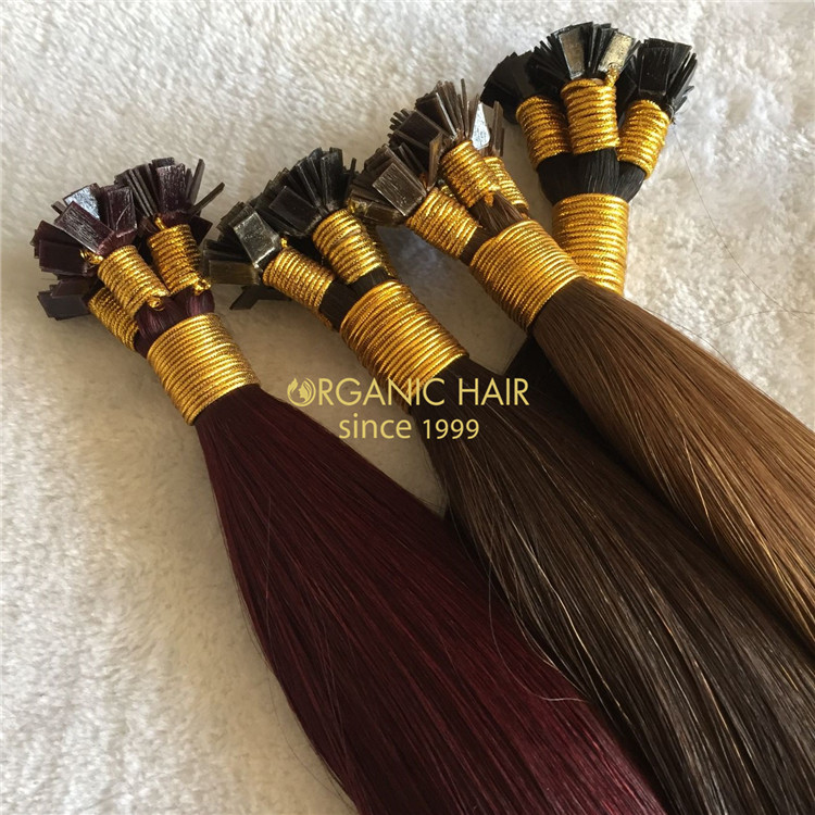Human keratin flat tip hair extensions on sale X163