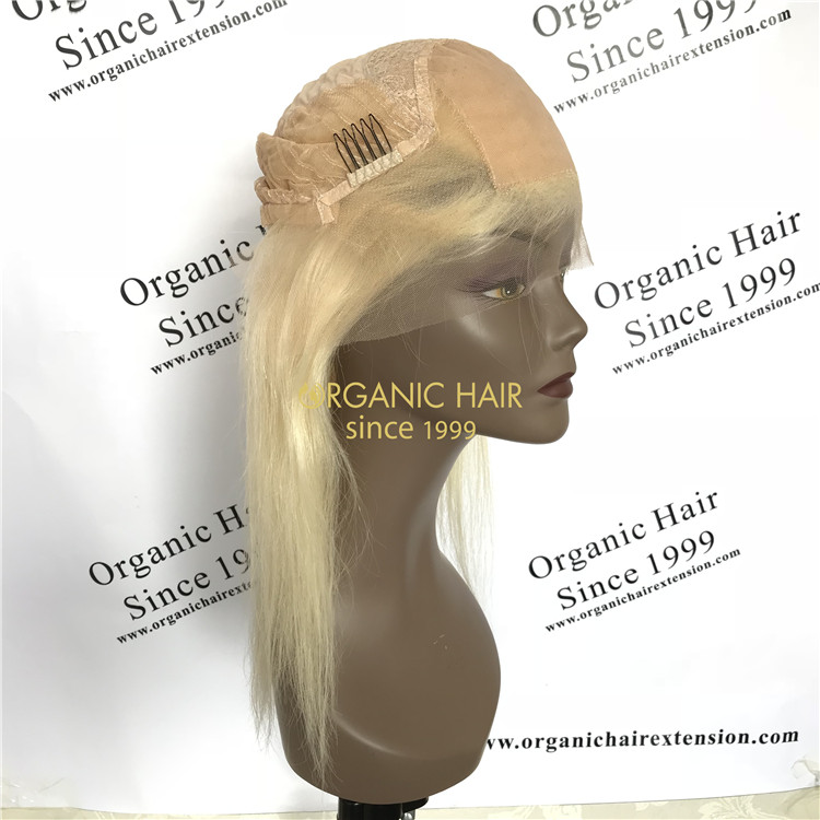 Human virgin hair lace front wig silk base #613 color X63