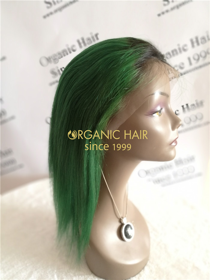 Wholesale human hair lace front wigs #1B/Green X16