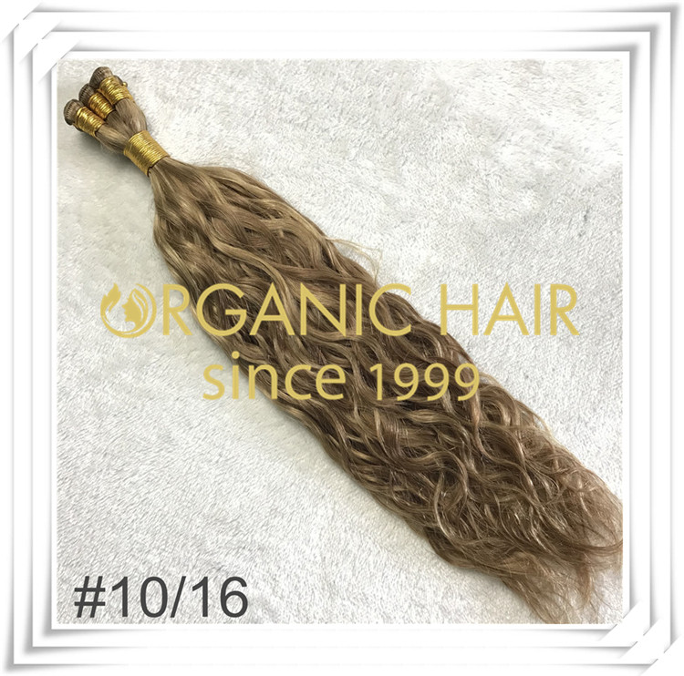 Mixture color #10/16 natural straight hand tied weft C028