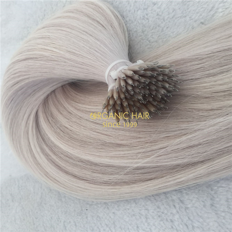 Human full cuticle hair nano ring hair extensions #60A color X135