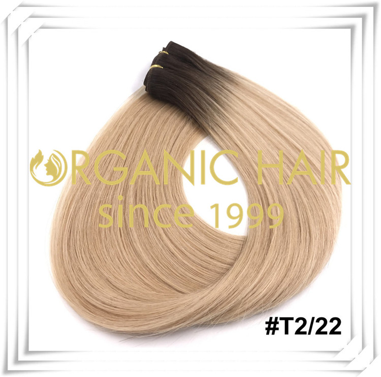 Ombre color custom full cuticle hand tied weft C002