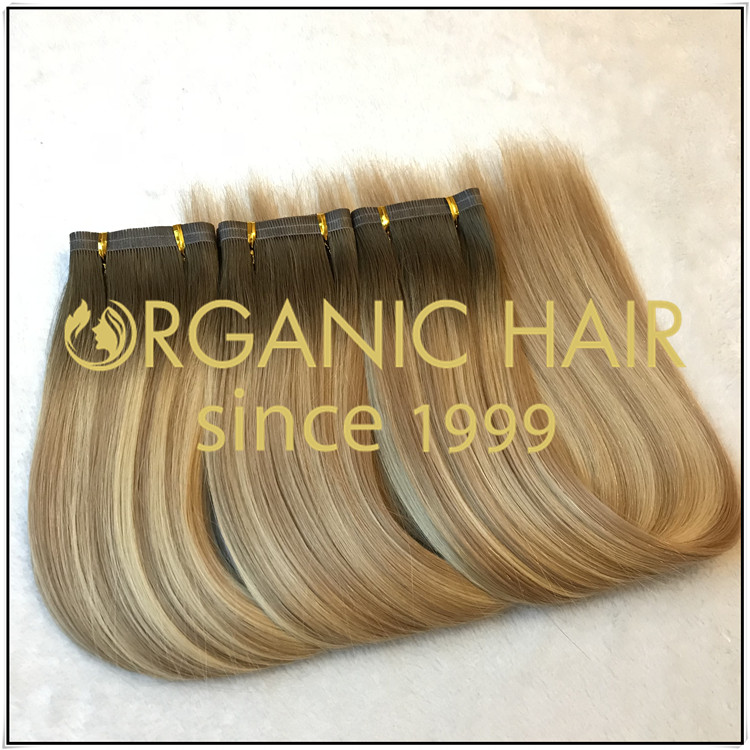 Ombre color full cuticle hybrid weft flat weft C011