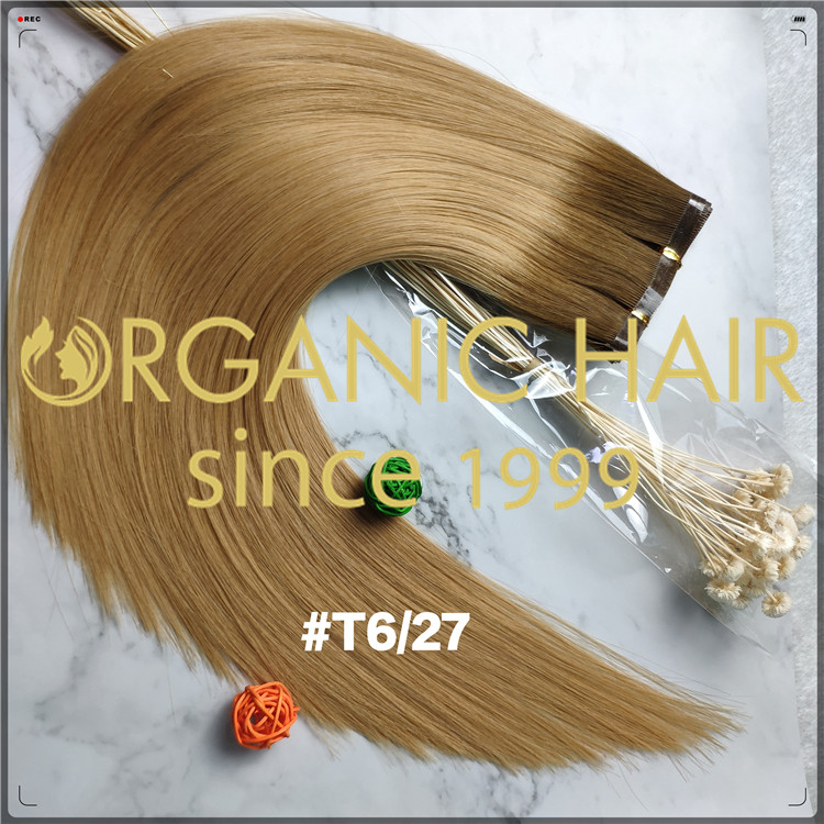 Popular ombre color 6/27 flat weft full cuticle hair extensions CNY002
