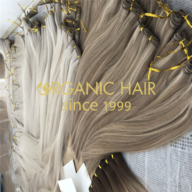 Custom blonde and ombre hand tied hair extensions H176