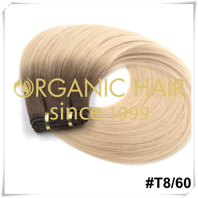 Ombre color #T8/60 hand tied hair extensions C051
