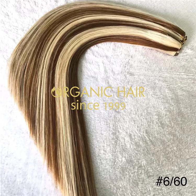 Human piano color #6/60 hand tied wefts hair extensions X215