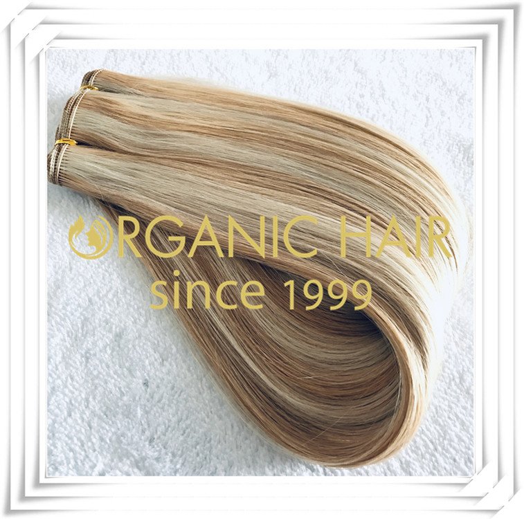 Piano color #22/60A flat weft hair extension C006
