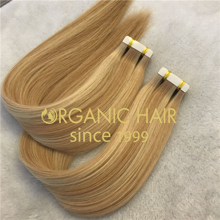 Wholesale piano color #613/18 human tape in hair extensions X319