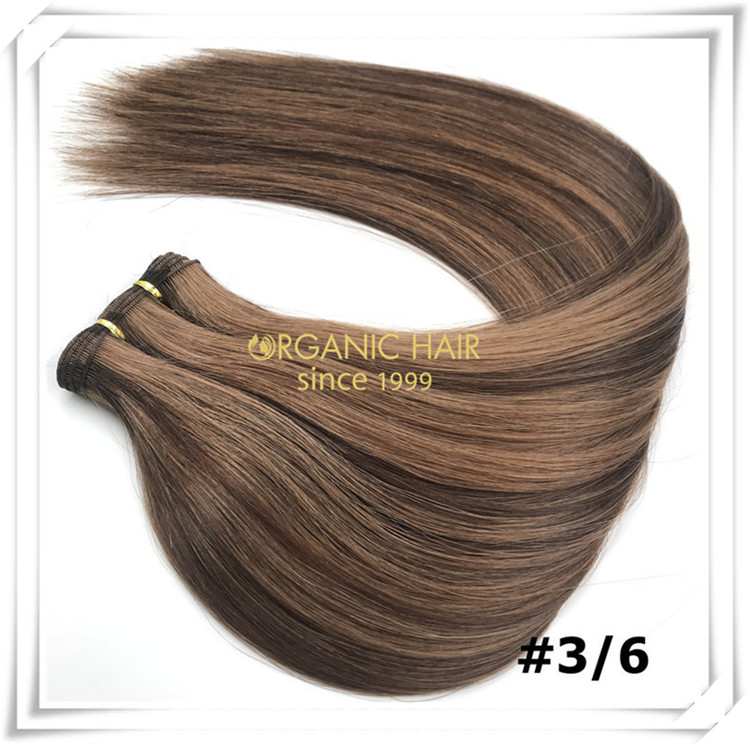 Piano color #P3/6 hand tied weft human hair C065