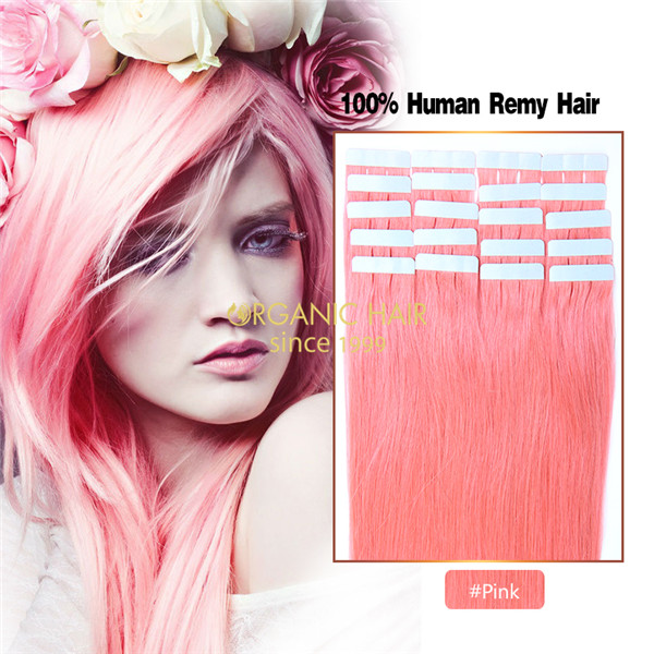 Pink hair extensions tape in remy hair extensions