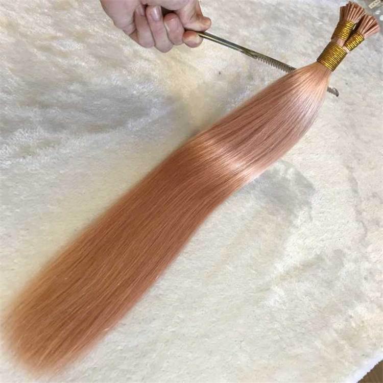 Pink cuticle double drawn i tip hair extension for girl A91