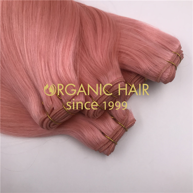 High quality custom pink machine weft Extenions  H284