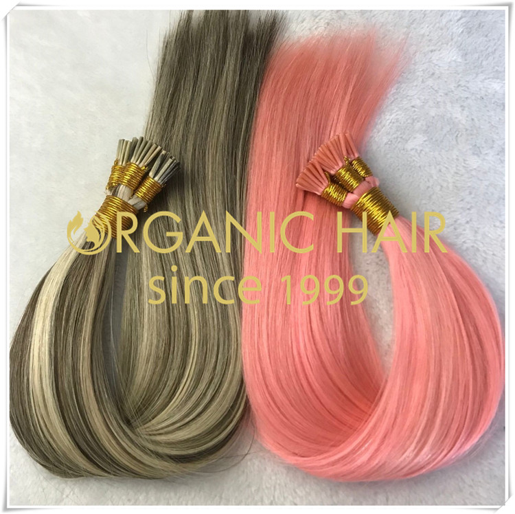 Pre bonded hair extensions I tip custom color CNY026
