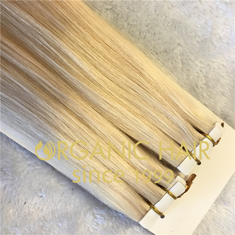 Blonde #60 color invisible tape in hair extensions H57