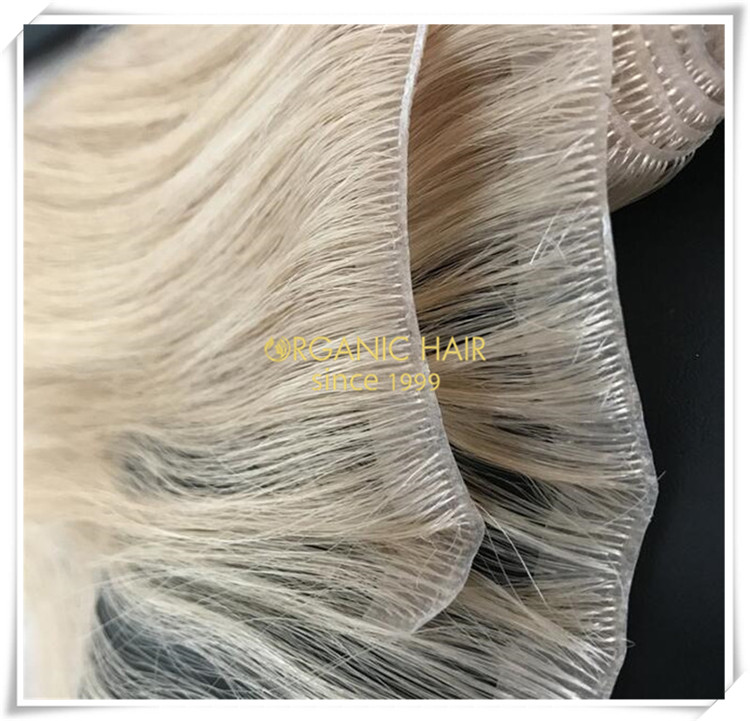 PU skin weft full cuticle human hair extensions CNY038