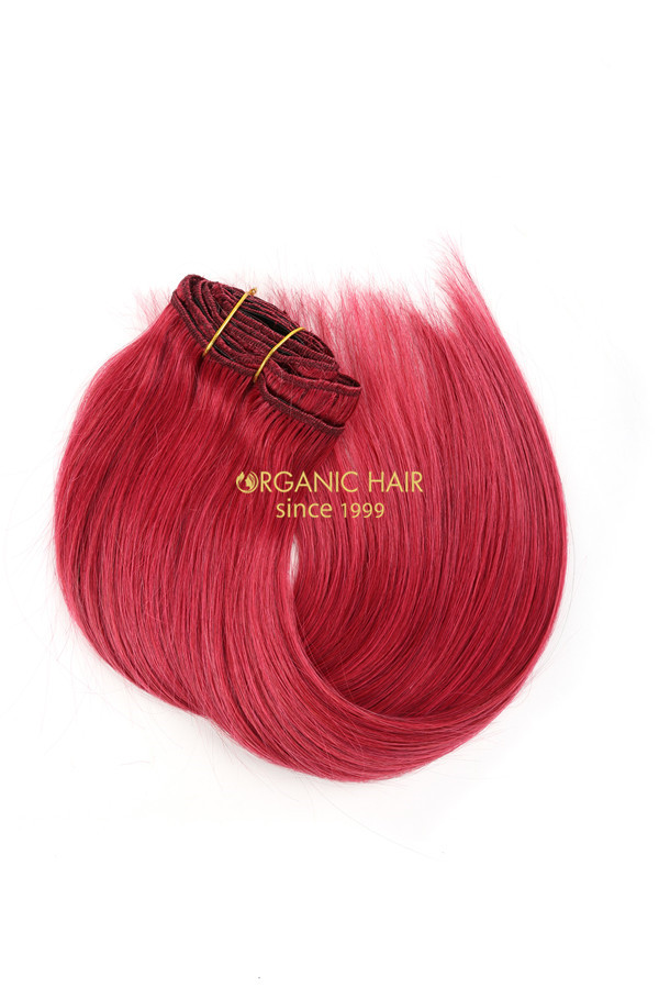 Wholesale real hair extensions clip in purple hair extensions